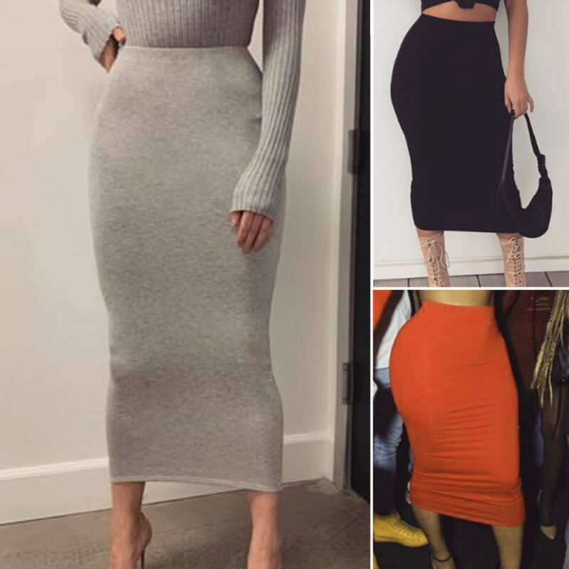 New Ladies Plain High Waisted Stretch Bodycon Jersey Summer Pencil Midi Skirt