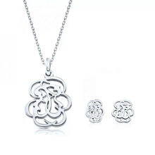 Gold Silver Stainless Steel Bear Pendant Necklace Earrings Sets Heart Clover Cross Bear Charm Necklace Jewelry Sets for Women newest stainless steel fashion heart jewelry 2 colors necklace and earrings sets for women sbjjgbed
