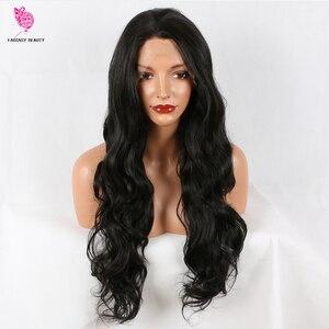 Image 4 - Peruca de cabelo sintético, fantasia beauty 180%, densidade 26 polegadas, frontal, natural, castanho, reto, ondulado, resistente ao calor, fantasia
