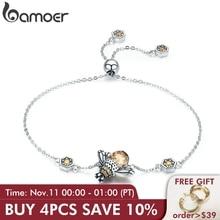 BAMOER véritable 100% 925 argent Sterling danse miel abeille chaîne lien femmes Bracelet cristal grande pierre Bracelet bijoux SCB043