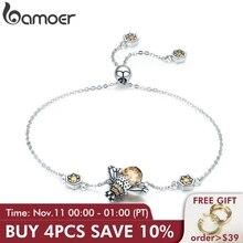 Bamoer genuíno 100% 925 prata esterlina dança mel abelha elo corrente pulseira feminina cristal grande pedra pulseira jóias scb043