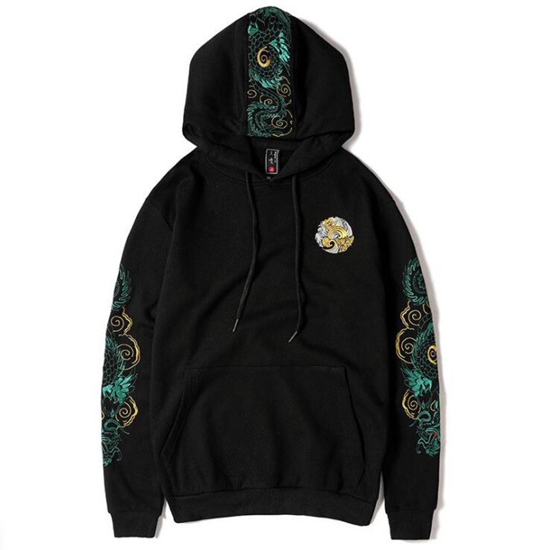 2020 New Embroidered Chinese Dragon Hooded Sweatshirts Pullover Hoodies Men Women Harajuku Hip Hop Streetwear Hoodie Male Tops