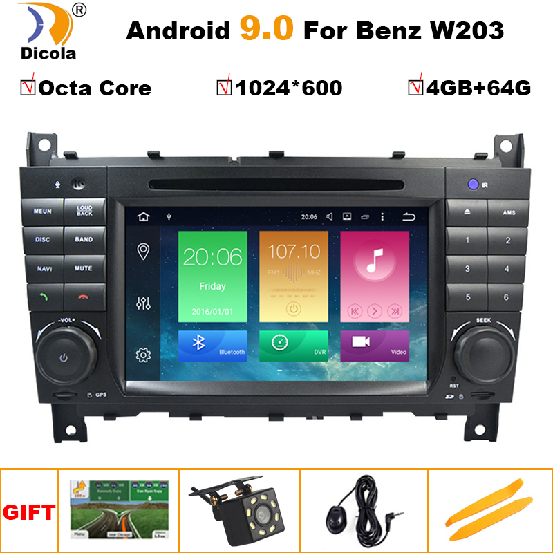 Android 9.0 4G+64G 2 DIN Car DVD <font><b>GPS</b></font> <font><b>For</b></font> <font><b>Mercedes</b></font>/Benz W203 W209 W219 W169 A160 C180 <font><b>C200</b></font> C230 C240 CLK200 CLK22 radio stereo image