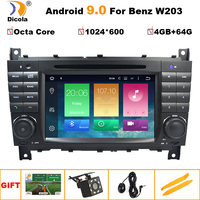 Android 9.0 4G+64G 2 DIN Car DVD GPS For Mercedes/Benz W203 W209 W219 W169 A160 C180 C200 C230 C240 CLK200 CLK22 radio stereo