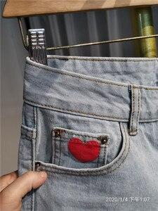 Image 4 - 2020 New Spring Autumn Women Jeans Pants Heart Print High Waist Straight Denim Trousers