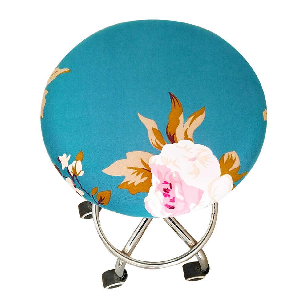 1/2/4/6pcs 2020 새로운 라운드 의자 커버 바 의자 커버 탄성 시트 커버 라운드 의자 의자 꽃 인쇄 홈 의자 슬립 커버