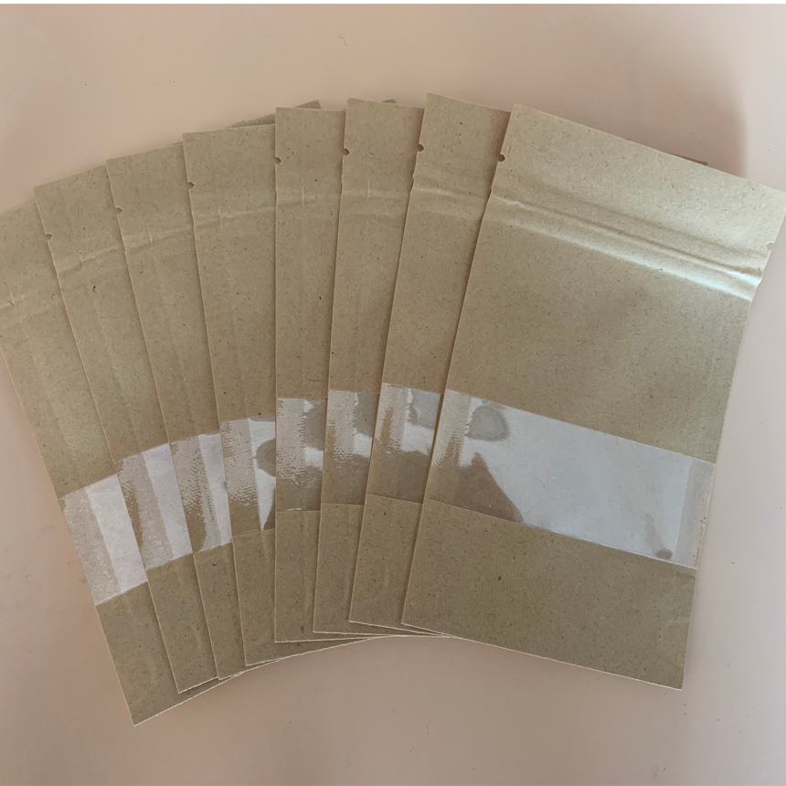 12*20+4mm <font><b>12x20</b></font>+4mm 14*20+4mm 14x20+4mm Self Heat Seal ZipLock Zip Three Dimensional Frosted Clear kraft Paper Pouch Storage Bag image