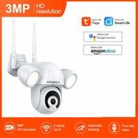 INQMEGA 3MP Tuya IP Kamera Flutlicht Hof Beleuchtung Im Freien WiFi Cam Alexa Google Home Wasserdicht Garten Sicherheit CCTV