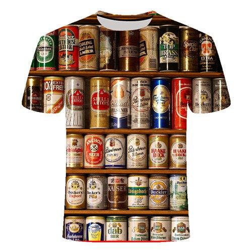 Летняя футболка с 3D принтом в виде пива, покера, для мужчин и женщин, забавная Новинка, футболка с круглым вырезом и коротким рукавом, топы, модные уличные мужские футболки - Цвет: TX021