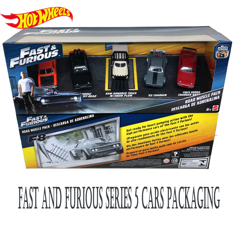 Hot Wheels  Fast and Furious 8 Alloy Car Dodge Charger Model 5 Pack Cars Boys Toy Gift with FCW65