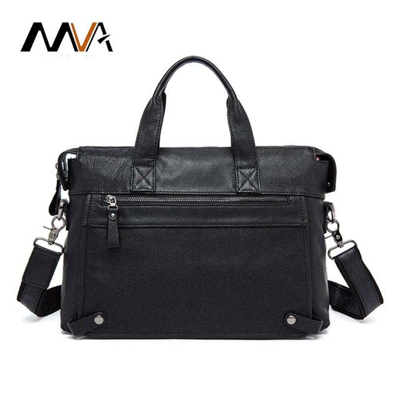 MVA men's briefcase leather business laptop bag leather office bag handbag leather messenger bag luxury men's bag free shipping