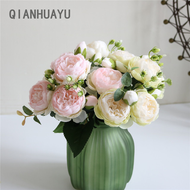 1pcs 30cm Rose Pink Silk Peony Artificial Flowers Bouquet For Valentines Day Gifts DIY Home Wedding Party Decoration Fake Flower 4