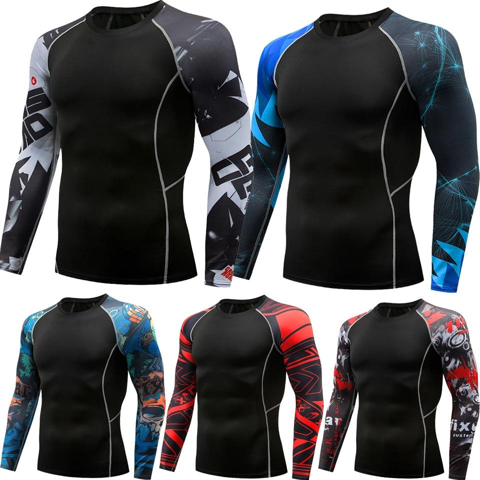 MMA T-shirt Men's Rashguard Long Sleeve Muay Thai T-shirts Gi BJJ  Jiu Jitsu MMA Compression Shirt Fitness Gym Boxing Jerseys