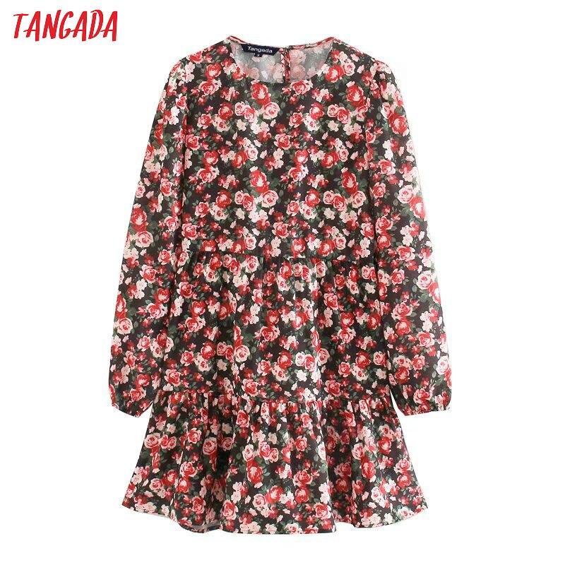 Tangada Women French Style Flower Print Pleated Dress O Neck Long Sleeve 2020 Fashion Female Sweet Mini Dresses Vestidos 5Z113