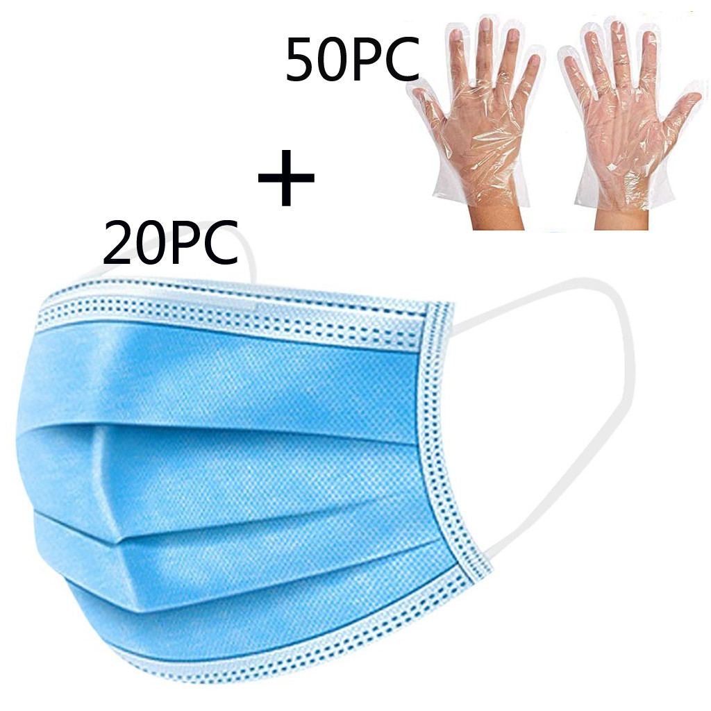 20PCS Disposable Face Masks 3-layer Mouth Masks Non-woven Anti-Dust Ear Loops Protective Respirators Face Mask + 50PCS Gloves