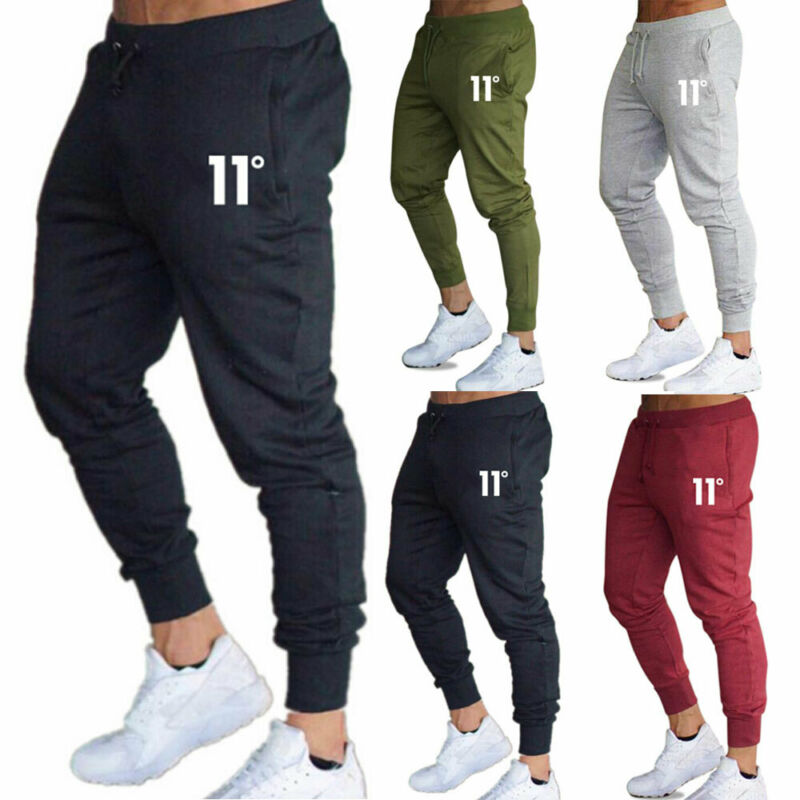 Hot sale solid casual Mens Casual Slim Fit Tracksuit Sports Solid Male Gym Cotton Skinny Joggers Sweat Casual Pants Trousers 3