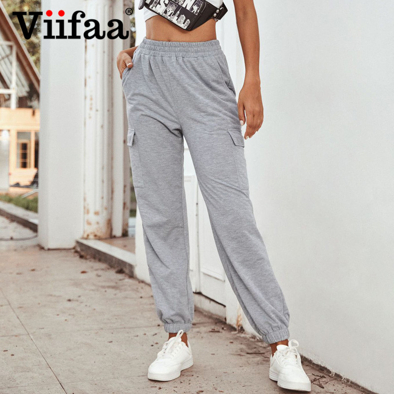 Viifaa Grey Sweatpants High Waist Autumn Winter Joggers Pants Women Elastic Waist Pocket Side Casual Loose Trousers
