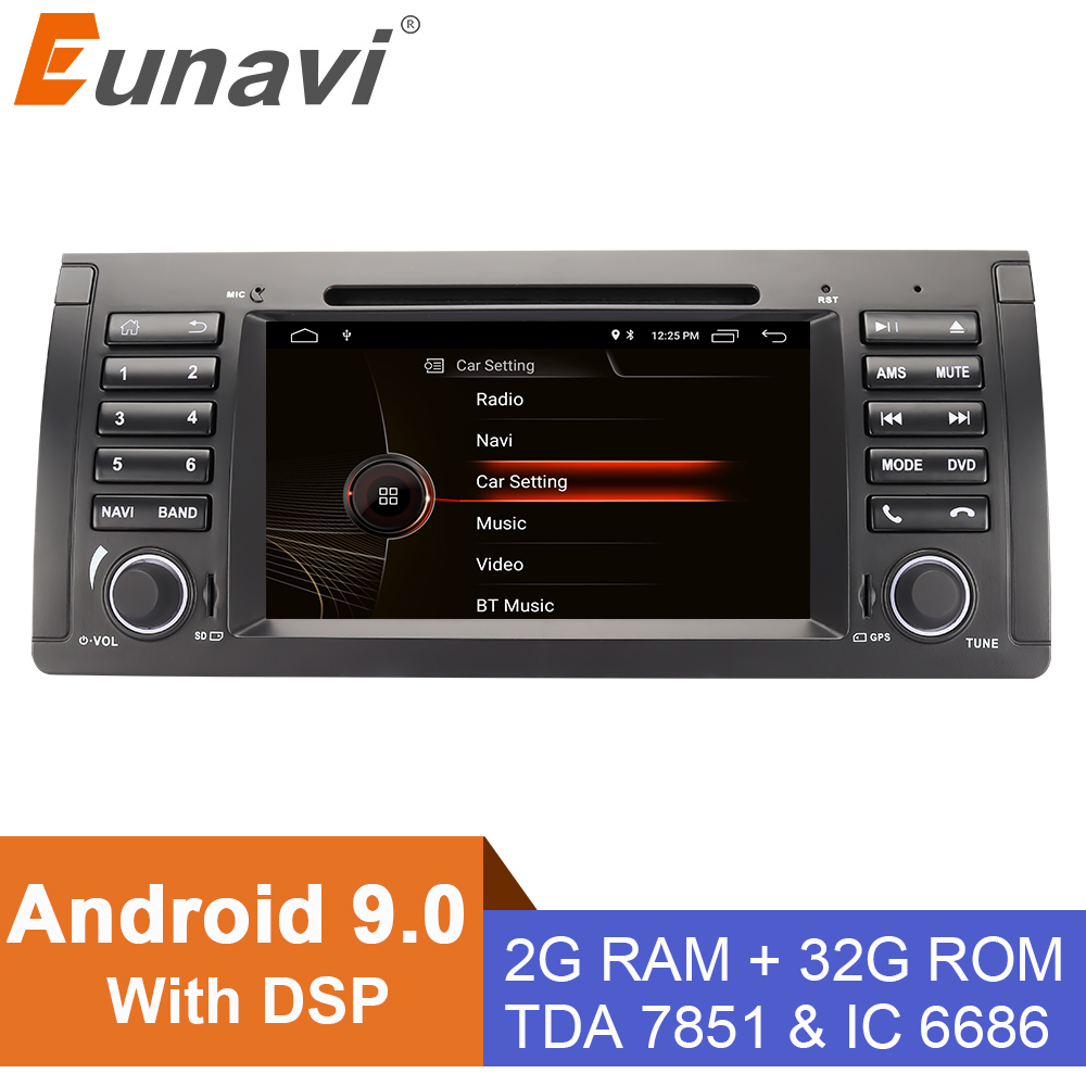 Eunavi 1 din 7'' Android 9.0 Car dvd player For BMW E53 E39 X5 Quad core Auto radio Car Multimedia Stereo with DSP WIFI BT SWC