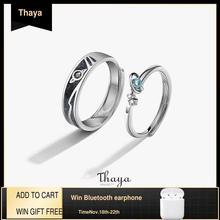 Thaya anéis femininos jóias textura 3d anéis planeta azul casal 925 prata esterlina anéis para presente de noivado feminino