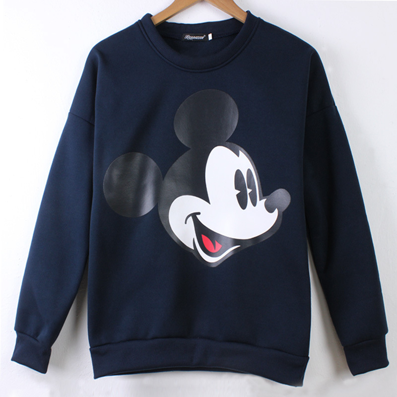 Women Sweatshirts Hoodies Cartoon Mickey Printed Casual Pullover Top Long Sleeve O-neck Ladies Cotton Sweatshirts