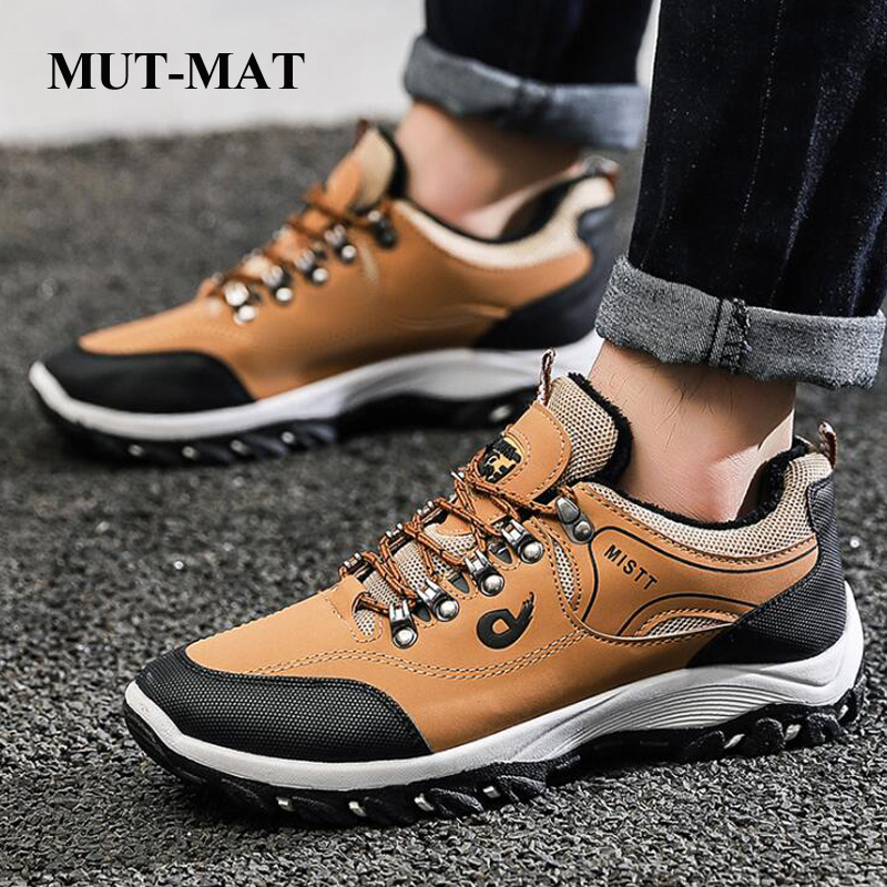 Spring and Autumn Man Sports Shoes Casual Wearable Hiking Sneakers Male Non-slip Running Quality Leather Shoes Large size 47 1