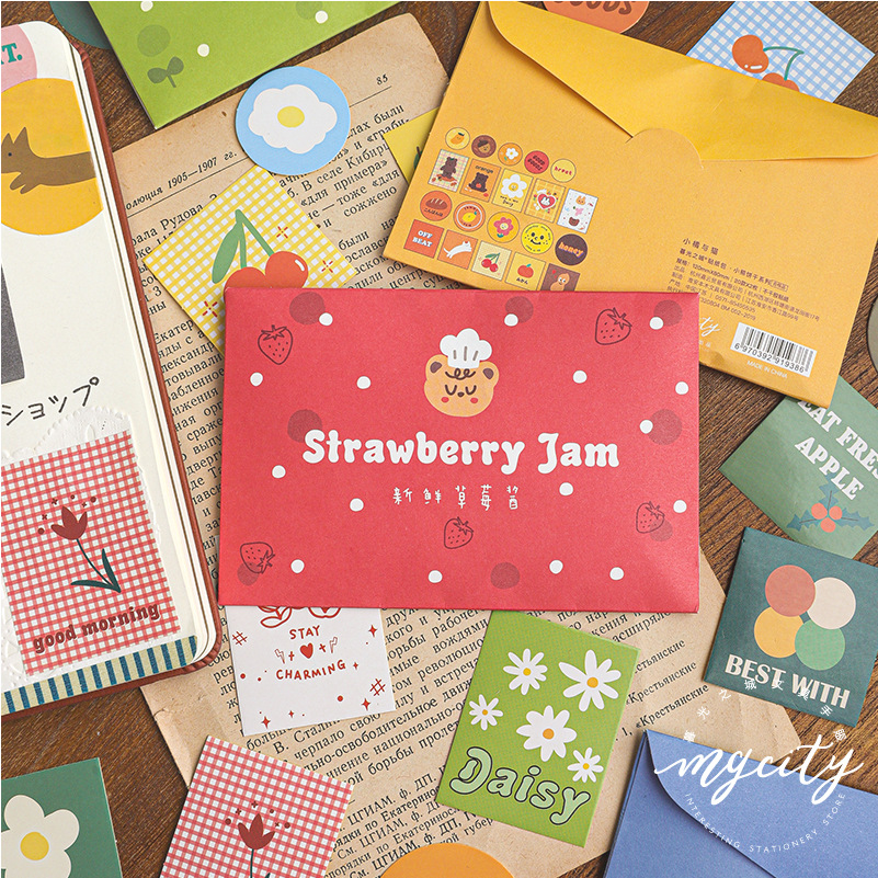 40 Pcs Bear Biscuit Series Journal Decorative Stickers Set Scrapbooking Stick Label Diary Stationery Album Cute Envelope Sticker