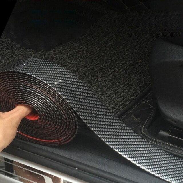 คาร์บอนไฟเบอร์ยางแถบนุ่มสีดำแถบกันชน DIY ประตูขอบยามรถสติกเกอร์ 1M