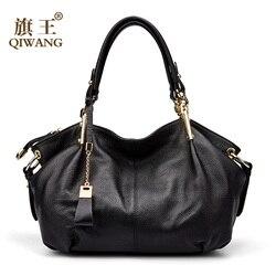 مكتب السيدات حقائب اليد Qiwang جلد طبيعي حقيقي حقيبة كتف العلامة التجارية الفاخرة حقيبة يد سوداء للنساء السببية حمل سعة كبيرة