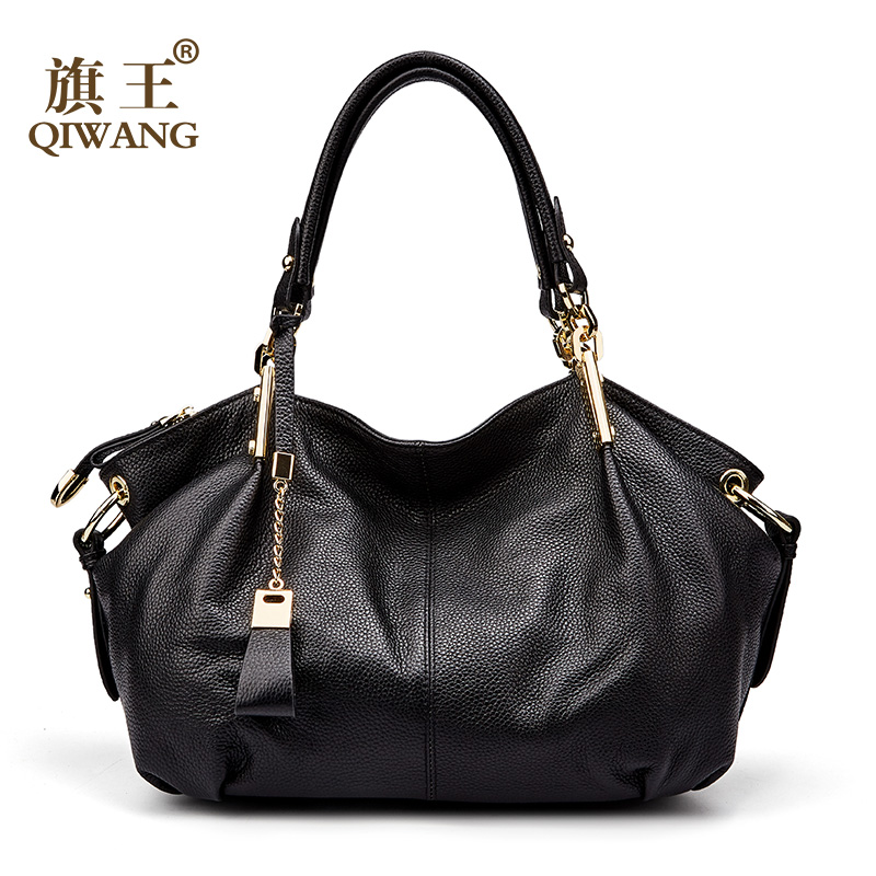 Bureau dames sacs à main Qiwang véritable sac à bandoulière en cuir véritable marque de luxe noir sac à main pour femmes casual fourre tout grande capacité