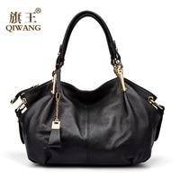 Office Ladies Hand Bags Qiwang Genuine Real Leather Shoulder Bag Luxury Brand Black Handbag for Women Causal Tote Large Capacity
