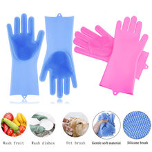 A Pair Magic Silicone Scrubber Rubber Cleaning Gloves Dusting|Dish Washing|Pet Care Grooming Hair Insulated Kitchen Helper 2019(China)