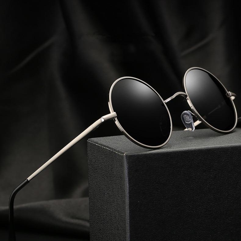 Gold Metal Polarized Sunglasses Men Women  Brand Designer Fashion Retro Vintage Shield Eyewear Shades Oculos De Sol