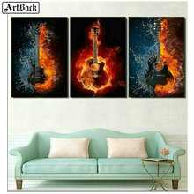 ArtBack three fight 5d diamond painting guitar ice fire music picture full square diy 3d mosaic landscape wall sticker