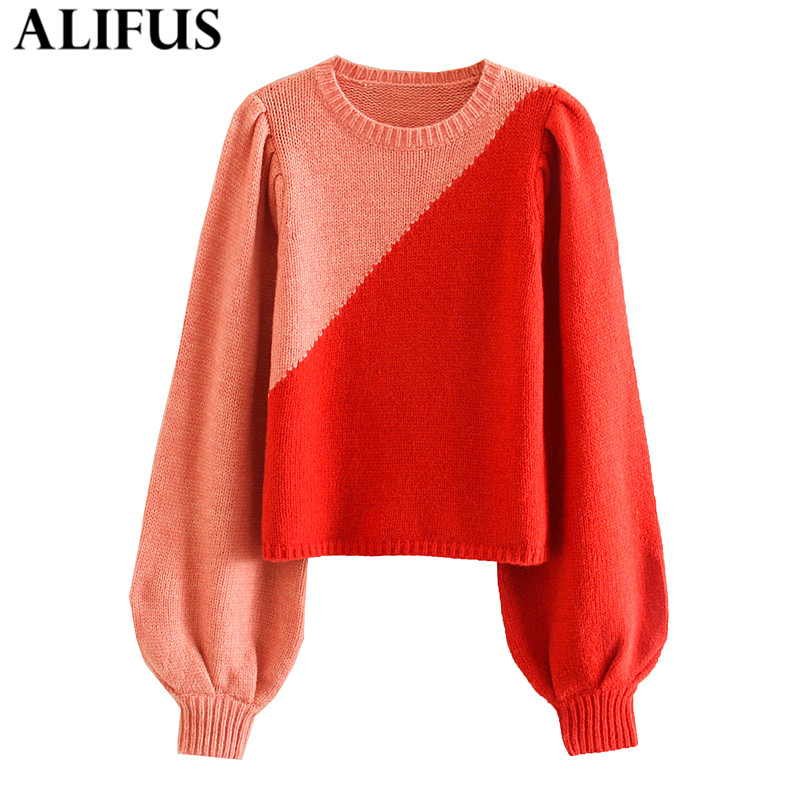Fashion Za Women Sweaters 2019 Casual Color Matching O-Neck Elegant Lantern Sleeve Loose Knitting Pullover Sweater Jumper Tops