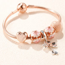 Authentic 925 Sterling Silver Original Rose Harmonious Hearts Pan Bracelet Set Clear CZ Fit Women Bangle Charm DIY Jewelry(China)