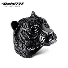 oulai777 fashion rings silve black gold Gothic Punk For Men Retro Male dainty Ring Stainless Steel accessories Tiger
