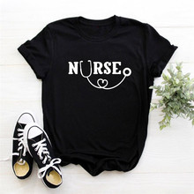 Nurse Letters Print Women Tshirt Lady Girl Top Tees Hipster Black White Casual F