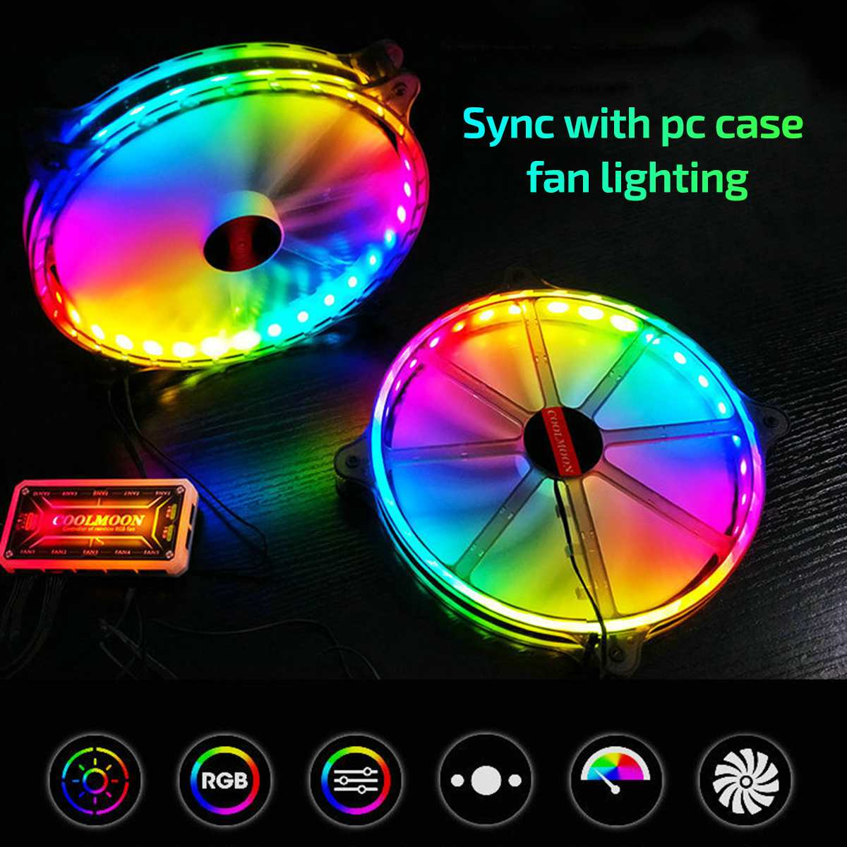 200mm Computer Cooler Cooling Fan 12V 6PIN Quiet Adjustable LED RGB Fan SYNC PC Case Cooler CPU Cooler Fan IR Remote Control