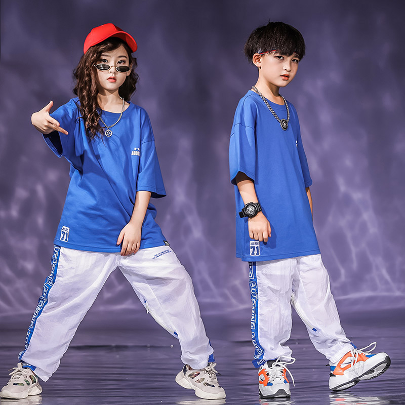 Blue Jazz Dance Costumes Kids Hiphop Rave Outfit Street Dance Performance Clothing Practice Wear Child Loose Clothes DF1662