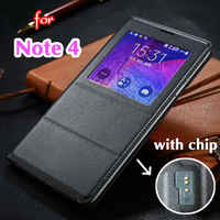 Smart View Auto Sleep Wake Shell with Original Chip Battery Bag Leather Case Flip Cover for Samsung Galaxy Note 4 Note4 N9100