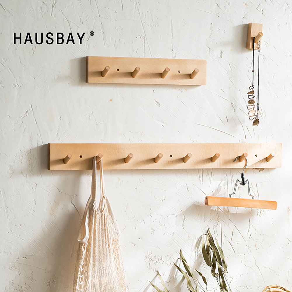 Nordic Style Solid Wood Hook Door Hanger Wall Hanging Rack Decorative Coat Key Storage Hooks Beech Wood Rack Furnishing 04355