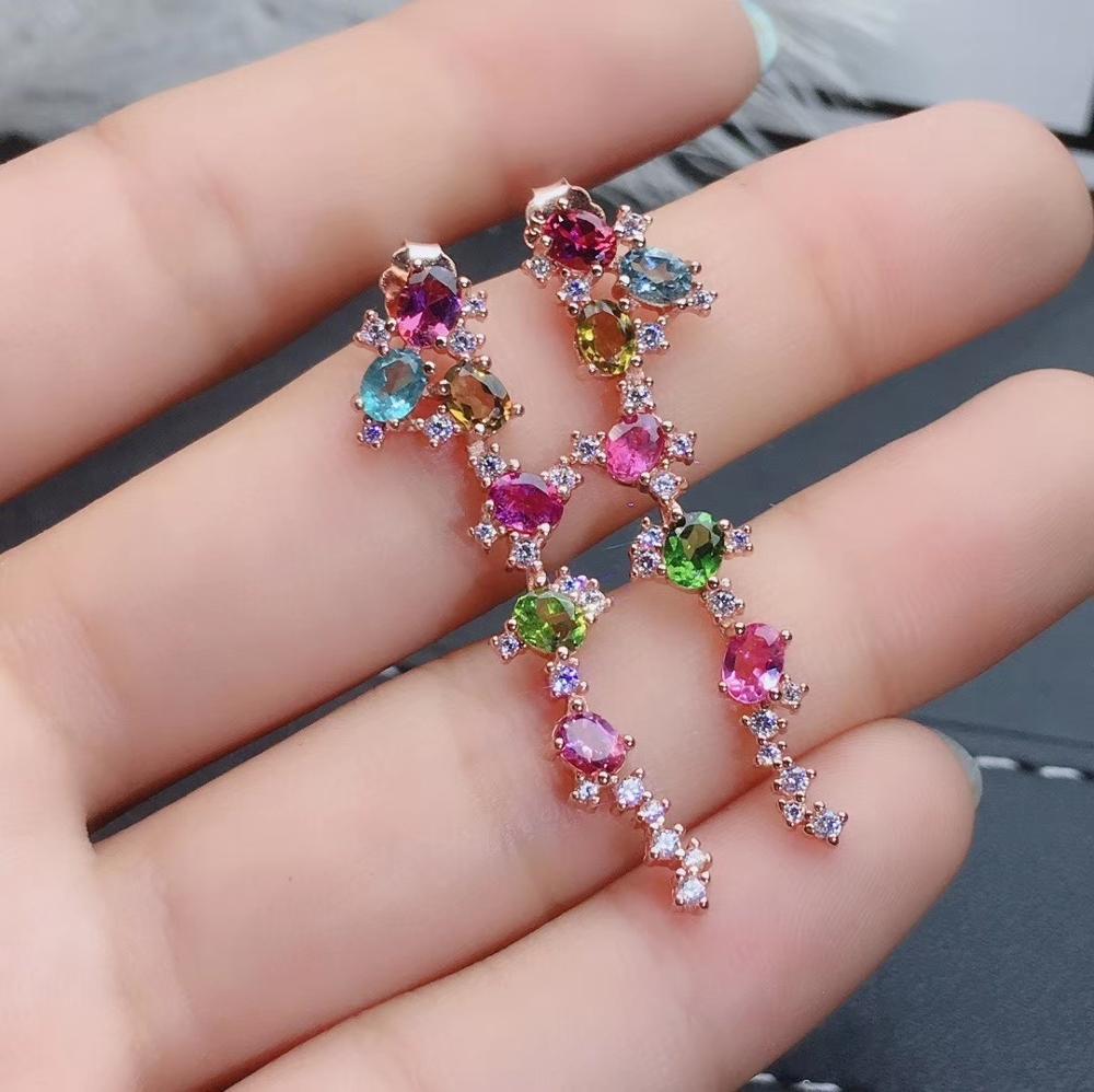 Mode longue géométrie naturel multicolore tourmaline goutte boucles d'oreilles pierres précieuses naturelles boucles d'oreilles 925 argent femme fête bijoux - 4