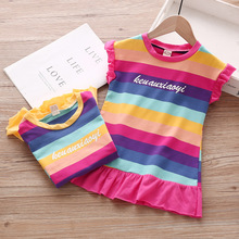 2019 summer girls dresses cute sleeveless children clothes nice stripe kids dress birthday party baby clothing for