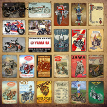 20*30cm motos Retro Vintage señales de Metal motos Placa de moto cartel de pared Bar Club Pub hogar garaje decoración YI-184(China)