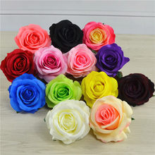 50pcs 14Colors 8CM Aritificial Rose Silk Flower Heads For DIY Wedding Home Garden Decoration Studio Shooting Props Arrangement