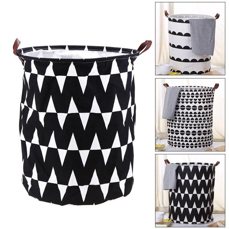 Folding Canvas Laundry Bucket Toys Clothes Storage Basket Organizer For Bathroom SLC88