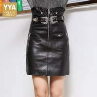 Real Leather Skirt Women Belted Slim Fit High Waist Genuine Leather Skirts Wrap Mini Sexy Sheepskin Biker Ladies Pencil Skirt