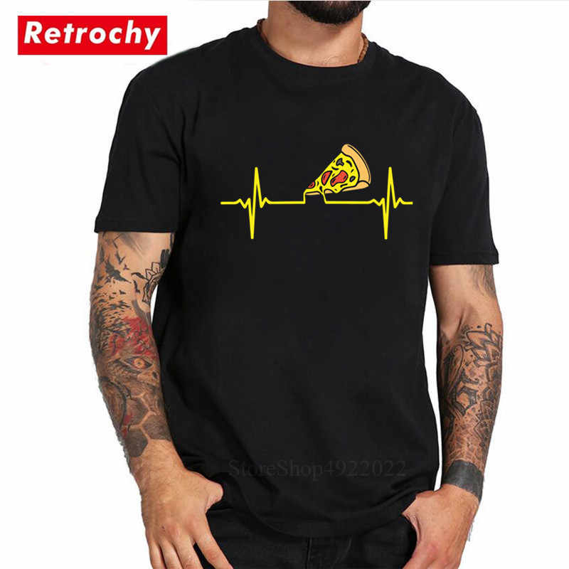 Funny Printed Pizza Heartbeat T Shirt Just Eat It Fashion Pizza Pattern Fun Clothes Men Cotton Short Sleeves T-Shirt Male Tshirt