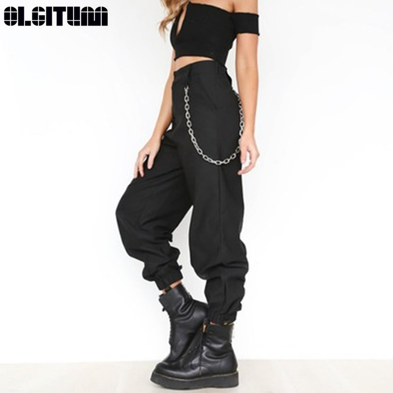 Gothic Harajuku Zipper Street Style Ladies Casual Harem Pants Chain Solid Color Personality Trousers Cool Fashion Hip-hop Pants