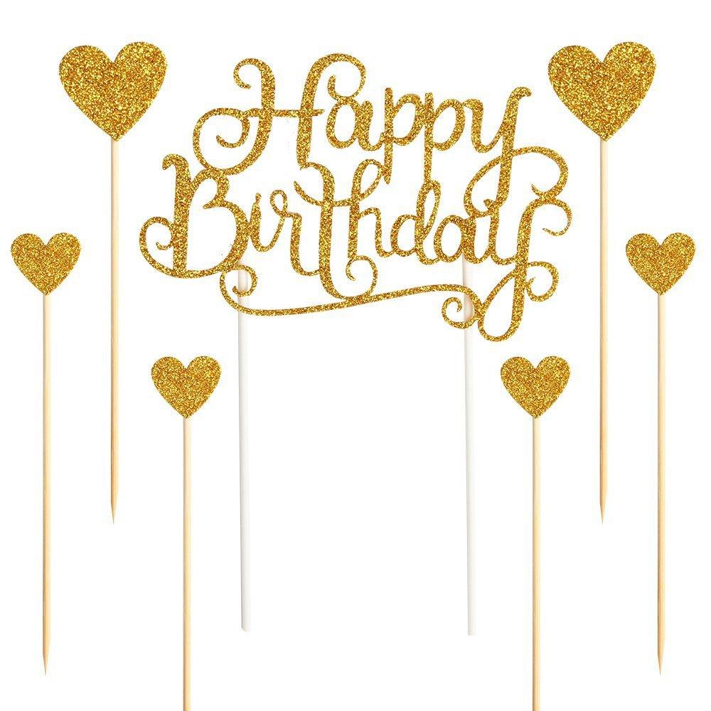 Gold Happy Birthday Cake Topper Happy Birthday Party Decor Kids Adults Cake Decor Birthday Cake Topper Decor Cake Supplies